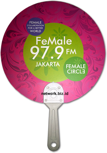 Kipas Promosi Female Radio : Bahan Art Carton